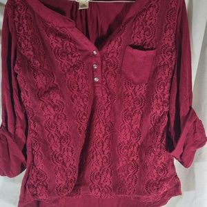 Self Esteem LG Maroon Lace Front Top with pocket